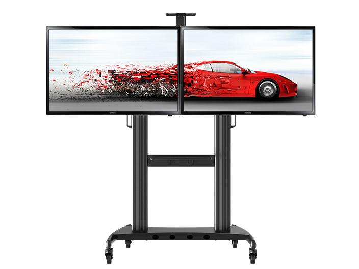 NB-AVT1800-60-2A双屏电视移动,视频会议推车,适用尺寸40-60寸,升降高度1100-1700MM,铝合金材质,承重56.7KG,支持安装孔位600*400