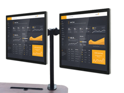 科鸥KO-T2D夹式双屏显示器支架 适用尺寸:10-30寸 材质:冷轧钢板  最大孔距:100*100  单承重:10KG  高度:420mm