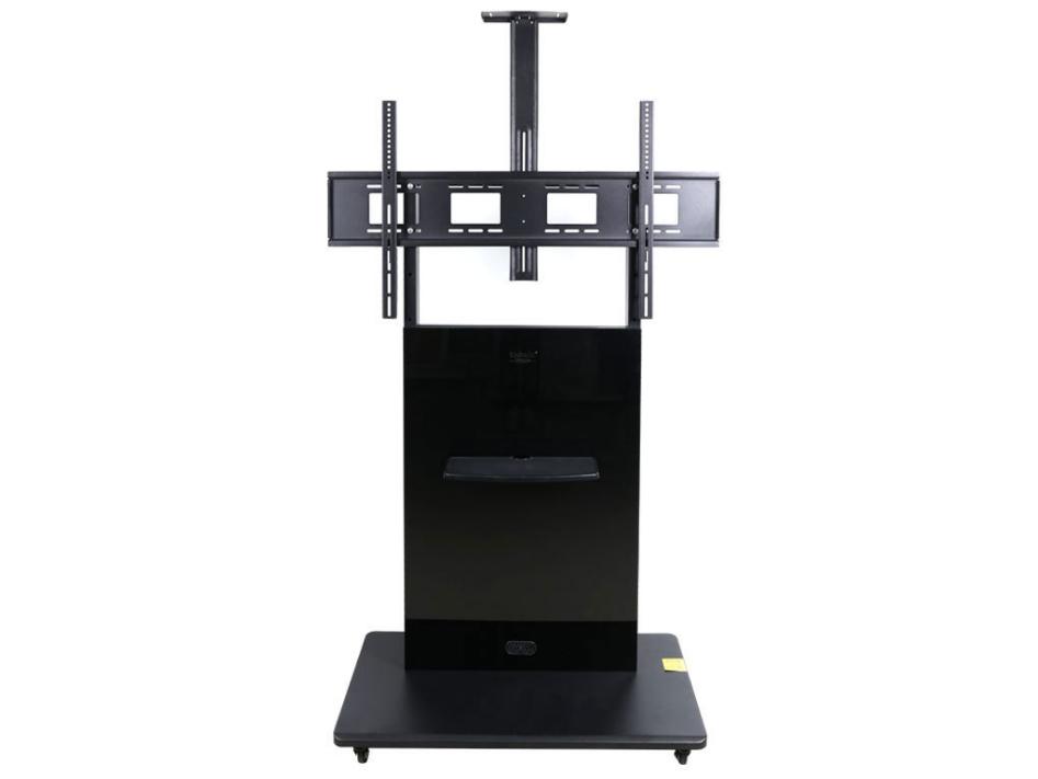科鸥KO-T200电视移动推车  颜色:沙比利、钢琴黑、胡桃 适用尺寸:60-120寸 材质:冷轧钢板+实木装饰  最大孔距:1100*600 承重:200KG