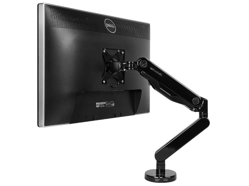 乐歌Q5显示器支架,适用尺寸10-27寸,航空铝材加工程塑料,二代气压弹簧,上下左右360度旋转,安装方法穿孔+加式,承重2-9KG,带USB