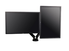乐歌Q5D双屏显示器支架,适用尺寸10-27寸,航空铝材加工程塑料,二代气压弹簧,上下左右360度旋转,安装方法穿孔+加式,承重2-9KG