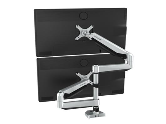 乐歌D7DS显示器上下双屏支架,适用尺寸10-27寸,航空铝材加工程塑料,二代气压弹簧,上下左右360度旋转,安装方法穿孔+加式,承重2-9KG,带USB