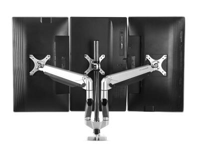 乐歌D7T显示器三屏支架,适用尺寸10-27寸,航空铝材加工程塑料,二代气压弹簧,上下左右360度旋转,安装方法穿孔+加式,承重2-9KG,