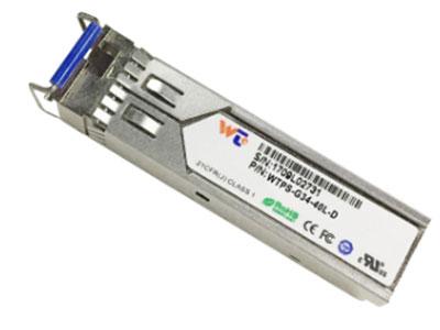 源拓  WTPS-G34-40L-D 1310FP  SFP光模块   l 带LC连接器的SFP封装  l  1310 nmDFB激光和光电探测器  l 1490nm DFB激光器与光电探测器  l 在SMF上传输高达40公里  l +3.3V单电源  l 与LVPECL兼容的数据输入/输出接口  l  低电磁干扰和良好的ESD保护  l 激光安全标准iec-60825兼容  l 与RoHS兼容   l 兼容SFF 8472