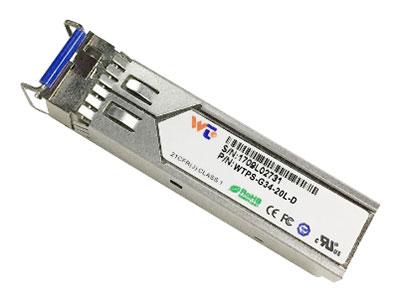 源拓  WTPS-G34-20L-D  SFP光模块   l 带LC连接器的SFP封装  l 1310 nm FP激光器与PIN光电探测器  l 1490nm DFB激光器与PIN光电探测器  l 可达2在SMF上传输0公里  l +3.3V单电源  l 与LVPECL兼容的数据输入/输出接口  l 低电磁干扰和良好的ESD保护  l 激光安全标准iec-60825兼容  l 与RoHS兼容   l 兼容SFF 8472