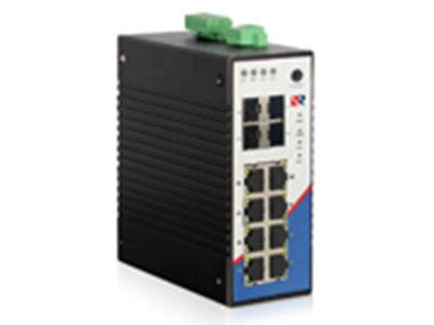 源拓  RS6012-4GF8GT  12口全千兆网管型导轨式工业交换机