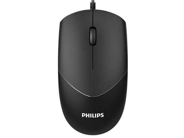 飞利浦 SPK7244 有线鼠标 4D精品商务办公鼠标按键设计.橡胶皮圈滚轮贴合手感.USB全速、可调节DPI设计800-1200