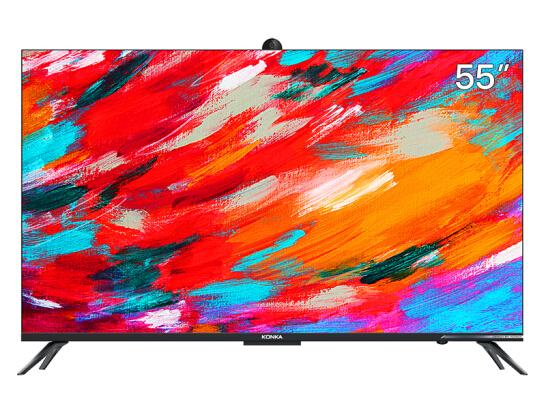 康佳(KONKA)55A10S 55英寸 4K超高清 MEMC超薄金属全面屏 3GB+32G内存 全景AI智慧屏 摄像头教育护眼电视