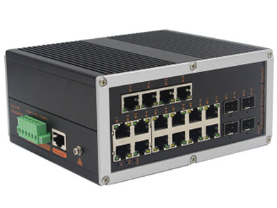 宇航光通  网管工业级 千兆4光16电-SFP YH6416BGS-SFP 型号YH6416BGS-SFP网管型千兆4光16电工业以太网交换机,产品符合FCC、CE、ROHS标准。支持4个千兆光口和16个千兆电口,支持一路console口;支持工业现场所需的以太网二层协议,保证通信网络的稳定性;该系列交换机采用低功耗、无风扇设计,确保无噪声干扰,同时支持-40~85℃工作温度和良好的EMC电磁兼容性能,保证在恶劣的工业环境中保持稳定的工作,为工厂自动化,智能交通,视频监控等工业应用领域组建快速稳定的网络终端接入网络提供安全可靠的解决方案。护等级的外壳及 LED 指示灯,使之成为