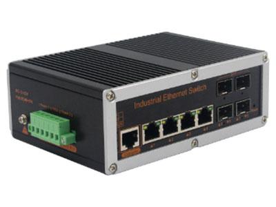 宇航光通   网管工业级 千兆4光4电-SFP YH644BGS-SFP 网管型千兆4光4电系列工业以太网交换机,产品符合FCC、CE、ROHS标准。支持4个千兆光口和4个千兆电口,支持一路console口;支持工业现场所需的以太网二层协议,保证通信网络的稳定性;该系列交换机采用低功耗、无风扇设计,确保无噪声干扰,同时支持-40~85℃工作温度和良好的EMC电磁兼容性能,保证在恶劣的工业环境中保持稳定的工作,为工厂自动化,智能交通,视频监控等工业应用领域组建快速稳定的网络终端接入网络提供安全可靠的解决方案。护等级的外壳及 LED 指示灯,使之成为一个即插即用的工业级设备,为用