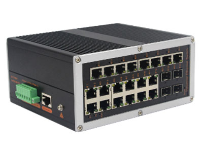 宇航光通  网管工业级 千兆4光20电-SFP 5G&新基建 YH6420BGS-SFP 网管型千兆4光20电系列工业以太网交换机,产品符合FCC、CE、ROHS标准。支持4个千兆光口和20个千兆电口,支持一路console口;支持工业现场所需的以太网二层协议,保证通信网络的稳定性;该系列交换机采用低功耗、无风扇设计,确保无噪声干扰,同时支持-40~85℃工作温度和良好的EMC电磁兼容性能,保证在恶劣的工业环境中保持稳定的工作,为工厂自动化,智能交通,视频监控等工业应用领域组建快速稳定的网络终端接入网络提供安全可靠的解决方案。护等级的外壳及 LED 指示灯,使之成为一个即插即用的工业级设备,