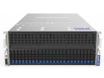 青云异构计算服务器  SYS-S4224-G8 1. 支持2颗Intel® Xeon® E5-2600 V4/V3系列处理器 2. Intel® C612芯片组 3. 24个DDR4内存插槽,最大支持3TB内存 4. 24个2.5英寸热插拔盘位 5. 12个PCI-E3.0扩展插槽 6.板载2x1000Mb/s网络接口 7.集成IPMI2.0远程管理端口 8. 1个VGA接口,4个USB3.0接口 9. 2000W钛金级(2+2)冗余电源