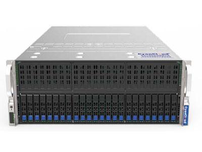 青云异构计算服务器  SYS-S4324-G10 1. 支持2颗Intel® Xeon® Scalable系列处理器 2. Intel® C622芯片组 3. 24个DDR4内存插槽,最大支持3TB内存 4.支 持24个2.5英寸热插拔盘位 5. 12个PCI-E3.0扩展插槽,1个M.2接口 6.板载2x10000Mb/s网络接口 7.集成IPMI2.0远程管理端口 8. 1个VGA接口,2个USB3.0接口 9. 2000W钛金级(2+2)冗余电源