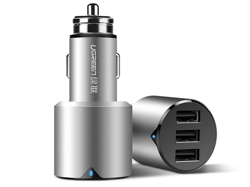 绿联(UGREEN) CD165 三口USB金属车充 输入:DC12-24V USB-A输出:5V/5.8A(单口5V/2.4A MAX) 输出总功率:29W MAX