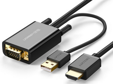 绿联(UGREEN)MM120 VGA+USB转HDMI公对公连接线