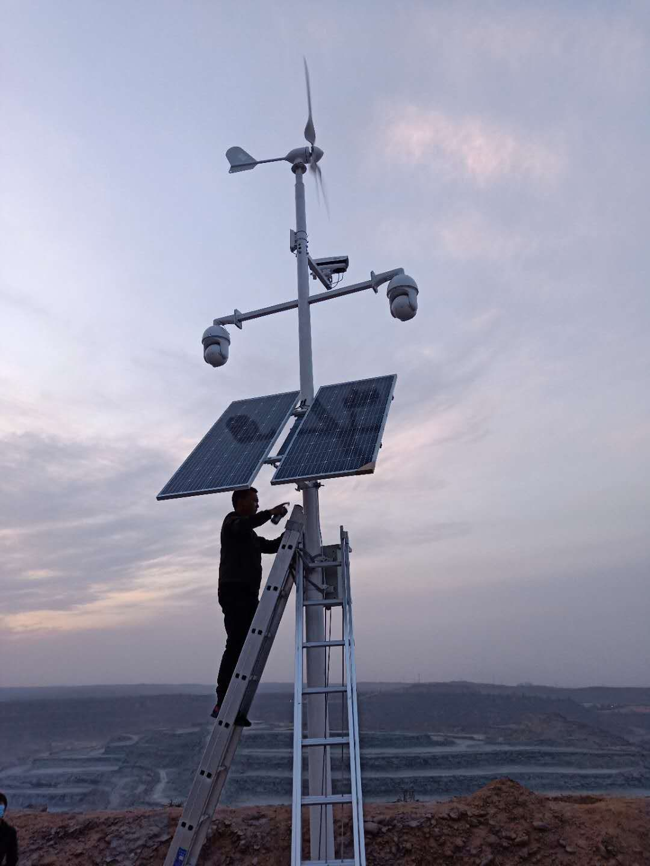 200W太阳能供电系统待机海康4寸球机加网桥,连续阴雨天4天