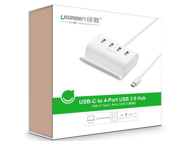 绿联(UGREEN)30288 Type-C 转4口 USB 2.0分线器 带支架