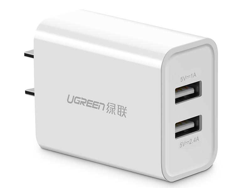 绿联(UGREEN) CD104  双口USB充电器 直插款