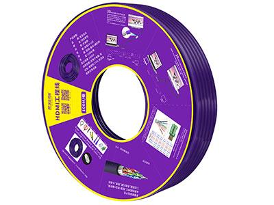 """HDMI工程卷线 纯铜紫色  24# OD:10.0"" ""1.自由穿管不受限                                            2.按需剪裁,布线不浪费,施工现场整洁                                3.配件完备,整套解决方案,简单制作即可使用                                                                         4.拆除方便,可重复使用"