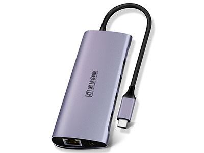 """""""金佳佰业 贵族系列 Type-C 7合1 全能款"""" """"1.Type-C/3*USB3.0+HDMI+VGA+PD+网卡. 2.3口标准USB3.0高速读写,轻松读写1T硬盘. 3.HDMI接口:支持4K/30Hz,音视频同步. 4.VGA接口:支持1080P/60Hz 5.PD接口:87W大功率,边工作边供电. 6.网卡接口:支持千兆以太网,向下兼容. 7.即插即用,支持热插拔,铝合金外壳,散热快"""""""