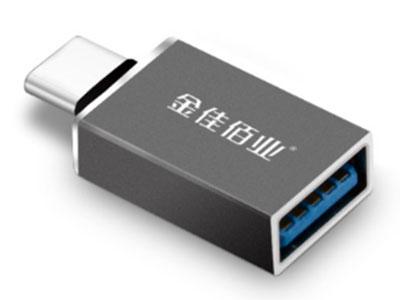 """""""金佳佰业   贵族系列             Type-c转USB3.0母  OTG头"""" """"1.Type-c转USB3.0母 2.即插即用, 兼容广泛 ,支持热插拔 3.高颜值,铝合金磨砂氧化工艺,金属拉丝亮边 4.标准USB3.0高速读写性能"""""""