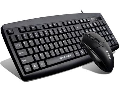 """爵蝎  """"桌面精灵 JK-2005 套装"""" """"键盘:同JK-205说明。 鼠标:办公家用型。人体工程学设计,1.5M带卡位光面全铜线,精准定位,开关寿命超500万次。三键标准实用版手感舒适,高光滚轮配备黑色橡胶防滑皮圈。内置加重铁,定位更精准,性能更稳定。默认1000DPI。"""""""