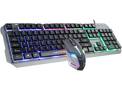"""爵蝎  A935T """"键盘:同A935说明。 鼠标: ◆采用游戏光学引擎,性能稳定。DPI支持三档调节。 ◆独特两翼装饰片设计,银色和土豪金双色搭配,五彩背光设计,美轮美奂。 ◆1.5米加粗带卡位全铜五芯线材,抗拉扯,防暴力。 ◆鼠标底壳带有整块铁板镶嵌,让你使用更稳定。 ◆采用高达500万次微动开关,使用更持久。"""""""