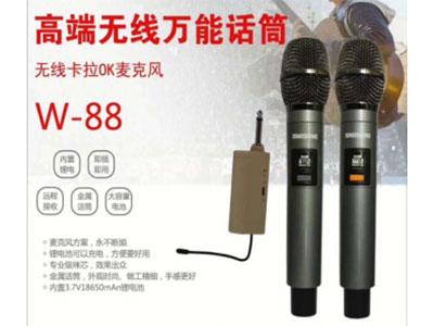 """特美声  W-88万能双无线话筒 """"18650毫安电池,接收器自带电池,可用在功放上                        定频万能话筒  双/金属咪660/接收器带电池"""""""