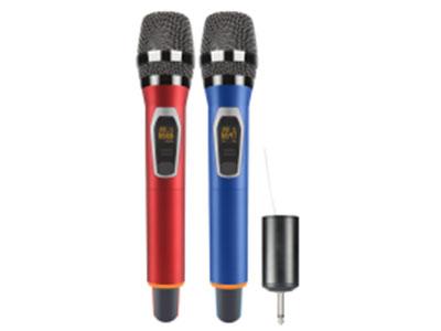特美声  W-99红蓝双手持 1频点.A管650.0-664.7MHz 2.B管666.0-680.7MHZ 一共有100组频点。 3.接收距离:50-70米 4.接收器采用1200MA18650电池 5.采用动圈咪头