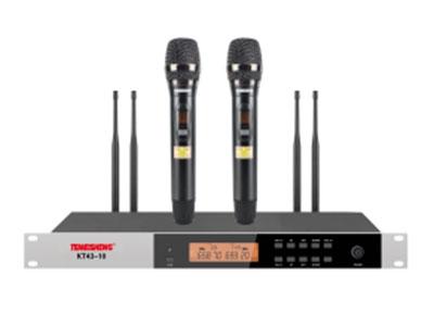 """特美声  KT43-10S(真分集)150米双手持 """"1.频率范围UHF 650.00MHz-709.70MHz频段 2.调制方式DQPSK 3.可调信道数200信道 4.信道间隔300KHz 5.振荡方式PLL锁相环频率合成 6.频率稳定度≤20ppm 7.动态范围 100dB 8.频率响应 20HZ-20KHz(±3dB) 9.综合信噪比≥96dB 10.综合失真度≤0.05\% 11.发射功率 ≤13dbm 12.接收灵敏度 96dbm 13.输出阻抗 1KΩ 14.工作距离 80m~150m  """""""