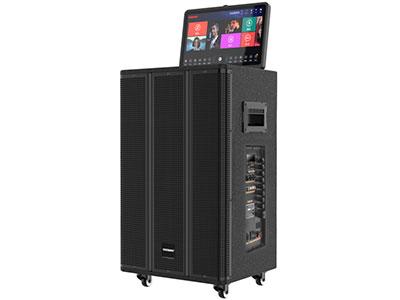 特美声  QX12-39 屏幕:13.3寸高清显示触摸屏 内存:500G 喇叭:12寸低音、 6.5寸中音、80磁高音 电池:12Ah/12V天能电瓶     功率:280W    音响尺寸:495*445*765mm 无线咪:双自动追频话筒 配件:金属对频话筒*2,充电线,高清线,说明书 功能:点歌安卓双系统,500G硬盘,13.3寸高清全视角触摸屏,屏幕可270o旋转、蓝牙,语音提示,支持HDMI高清输出,音频输入输出 适用范围:家庭娱乐、户外运动(如体操、广场舞蹈、户外演出、产品促销、旅行聚会)