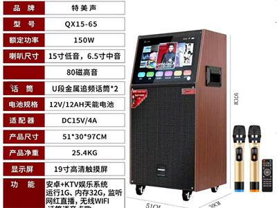 特美声  QX15-65 功率:150W   运行/内存:1G+32G 屏幕尺寸:19寸高清触摸屏 系统:安卓+KTV娱乐系统 网络功能:无线WiFi 喇叭尺寸:15寸低音,6.5寸中音,80磁高音 话筒:金属U段无线追频话筒*2 电池:12Ah/12V天能电池    适配器:15V/4A 网红接口:监听,直播,伴奏,AUX 播放格式:全音视频格式 直读设备:TF卡和U盘 产品尺寸:510*325*970mm 产品净重:25.4KG 配件:智能遥控器*1,电源适配器*1,说明书,话筒*2