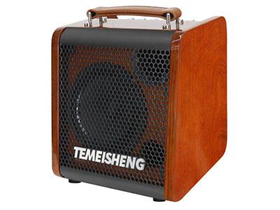 """特美声  JT06-53 """"扬声器配置: 低音6.5寸、80磁,全频低音25蕊4欧30W,高性能三环布边进口纸盆 高音:3寸高音,60磁,全纸14蕊4欧10W,双磁,高性能进口纸盆 额定功率:30W  峰值功率:80W 适配器:15V/2A 频响范围(-3db):70h~20KH 电池规格:12V/5.5Ah 功能:蓝牙,USB/TF卡,蓝牙复位功能,直播,乐器输入,独家专用APP智能控制 特点:夹板烤漆箱体,定制真皮手提带,铝合金调音板,专业级乐器音响 无线咪:金属追频咪X2"""""""