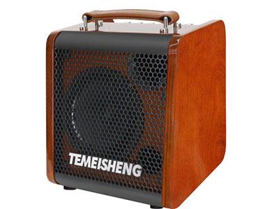 """特美声 JT08-53 """"扬声器配置: 低音8寸、80磁,全频低音25蕊4欧30W,高性能三环布边进口纸盆 高音:3寸高音,60磁,全纸14蕊4欧10W,双磁,高性能进口纸盆 额定功率:30W峰值功率:80W 适配器:15V/2A 频响范围(-3db):70h~20KH 电池规格:12V/5.5Ah 重量:5.8kG 功能:蓝牙,USB/TF卡,蓝牙复位功能,直播,乐器输入,独家专用APP智能控制 特点:夹板烤漆箱体,定制真皮手提带,铝合金调音板,专业级乐器音响 无线咪:金属追频咪X2"""""""