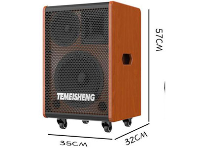 """特美声 JT10-53 """"型号:JT10-53 功率:60W-120W 低音:120磁35芯10寸全频 中音:100磁25芯6寸中音 高音:90磁34芯强磁钛膜 电池:12Ah/12V天能电瓶 话筒:专用U段追频话筒*2 适配器:DC15V3A 尺寸:35*32*57CM 产品净重:19.5KG 配件:2米直播线*1,适配器*1,网红遥控器,说明书"""""""