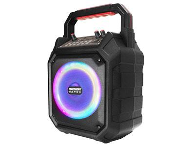 """特美声  A6-7 """"喇叭尺寸:6.5寸全频喇叭  电池:2500mA/7.4V动力电池  适配器:DC15V/2A墙插式 功率:30W-60W  话筒频点:775MHz  尺寸:24*15*34.5cm 净重:2.2KG 功能:蓝牙、USB/TF、语音、录音、消原唱、EQ模式、声场特效模式、七彩炫光灯。 配置:单手持话筒、充电器、说明书  适用范围:户外活动(如体操、广场舞蹈、产品促销、旅行聚会等)"""""""