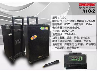 特美声  A10-2 喇叭尺寸:10寸全频低音、3.5寸高音 电池容量:4400毫安锂电 充电器:DC9V2A 额定功率:80W 话筒频点:250.6Mhz 功能:蓝牙、语音、录音、话筒优先、外接12V  配件:单手持话筒、充电器、说明书 适用范围:户外活动(如体操、广场舞蹈、产品促销、旅行聚会等)  产品特点:采用进口远程喇叭设计,穿透力极强。