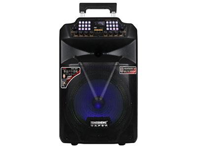 """特美声 SL15-24 """"喇叭尺寸:15寸低音,80磁高音 电池:9Ah/12V,充电器:12V/2A 产品尺寸:420*620*360 配置:自动追频话筒*2,充电线,说明书 功能特点:消原音伴唱,带声卡,七彩炫光灯,蓝牙,USB/TF/SD卡,语音,录音,九旋钮独立调节,音频输入/输出,话筒优先,外接12V  适用场合:广场舞/体操活动/商铺产品促销/大中小会议/旅行聚会/网红/喊麦等"""""""