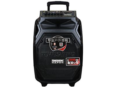 """特美声 SL10-08 """"喇叭尺寸:10寸低音,80磁高音x1 电池:12V/5.5Ah 额定功率:100W 峰值功率:200W 产品尺寸:35*30*53cm 充电器:DC15V/3A 产品配件:专业话筒*2、遥控、充电器 功能:蓝牙,语音,录音,USB/TF卡,消原音高品质消原音伴唱功能,人声自动减弱、不限音频格式。蓝牙状态下也可消原音伴唱 适用范国:户外活动(广场舞蹈、街头演艺、个人弹唱、体操活动商铺促销、会议、旅行聚会等)"""""""