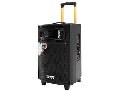 """特美声  QX-1031 """"喇叭尺寸:10寸低音、3.5寸高音 电池容量::5Ah/12V电瓶 适配器:15V3A桌面式  话筒频点:738.6MHz 功能:蓝牙、语音提示、录音、外接12V、消原唱 配置:单手持话筒、遥控、充电器、说明书 产品特点:采用进口远程喇叭设计、穿透力强 适用范围:户外运动(如体操、广场舞蹈、产品促销等)  """""""