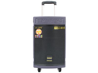 """特美声 GD15-08 """"喇叭尺寸:低音15寸、中音6寸、80磁高音、真正的三分频 电池容量:20Ah/12V 功能:蓝牙、语音、录音、话筒优先、外接12V、全功能遥控、音频输出、外置保险、九位独立旋钮调节 全喷漆木质箱体商标独特雕刻工艺、高端金属拉杆、1.5寸耐磨万向轮、高端铝管U段带频话筒 """""""