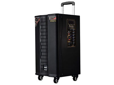 """特美声  GD12-27 """"喇叭尺寸:低音12寸、6寸中音、80磁高音 功率:200W 电池容量:14Ah/12V 功能:5.8G无线互联 消原音伴唱,蓝牙,语音,录音,音频输出,话筒优先,外接12V 、大功率 材质:高密度中纤压缩喷木箱(镭雕LOGO) 轮子:万向轮 适用场合:广场舞,户外演出,商务促销,商务会议,大中小商演,旅行聚会,导游  """""""