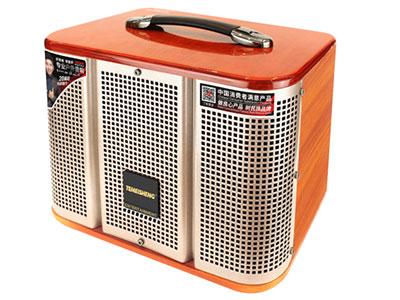"""特美声  GD06-39 """"喇叭尺寸:低音6.5寸、钕铁硼高音 功率:60W  峰值功率:120W   电池容量:5Ah/7.4V高性能电池 尺寸:35*23*29cm 净重:5.6KG 功能:消原音伴唱,蓝牙,语音,录音,音频输入输出,话筒优先,外接12V  轮子:万向轮 适用场合:广场舞,户外演出,商务促销,商务会议,大中小商演,旅行聚会,导游"""""""