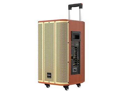 """特美声  GD12-39  """"喇叭尺寸:低音12寸、6.5寸中音、80磁高音 功率:120W     电池容量:12Ah/12V天能电瓶 尺寸:42*39*66cm 净重:23.7KG 功能:消原音伴唱,蓝牙,语音,录音,音频输出,话筒优先,外接12V 、大功率 轮子:万向轮 适用场合:广场舞,户外演出,商务促销,商务会议,大中小商演,旅行聚会,导游"""""""