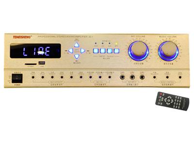 特美声  卡包功放 金色铝合金面板,三路话筒输入,四路输入转换,带USB,SD,蓝牙功能。人性化设计话筒的混响,延时,回声,高低音可独立调节。专业设计带暗调,四路音量输出。环形变压器,1047对管。                                      额定功率:8欧80*2峰值功率:140*2