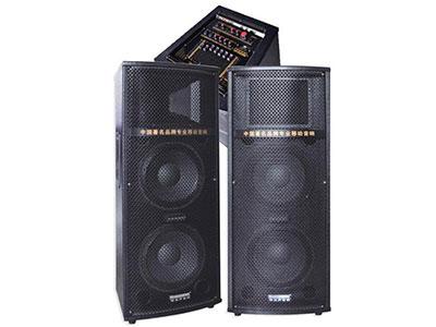 """特美声 114T """"功能特点:大功率低漏磁环变压器.数码MP3输入.USB/SD卡接口.带双咪.数码双咪输入.专业调音台 喇叭尺寸:10寸*2、 8寸高音*1。 有效功率:150W+150W 电源/频率:AC220V/50HZ 最大功率:180W+180W 类型特点:专业有源舞台音响。 适用范围:户外活动{如体操.广场舞蹈.产品促销.旅行聚会等} 产品特点:采用进口远程喇叭设计穿透力强。"""""""