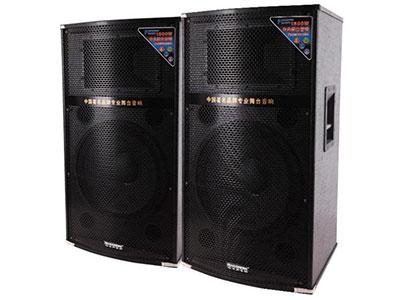 """特美声  127TS """"功能特点:大功率低漏磁环变压器.数码MP3输入.USB/SD卡接口.带双咪.数码双咪输入.专业调音台 喇叭尺寸:15寸*1/8寸高音*1。 有效功率:180W+180W 电源/频率:AC220V/50HZ 最大功率:220W+220W 类型特点:专业有源舞台音响。 适用范围:家庭聚会,舞台活动.卡拉OK歌房。"""""""