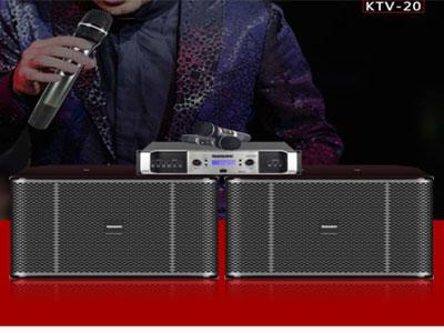 """特美声 套装  KTV-20 """"型号:KTV-20 1.15厘实木板,高端钢琴喷漆工艺。 前导箱,低音强劲,高中音通透明亮甜美,唱歌不费力 2.产品参数:频率响应:(Frequency response) 20Hz-20kHz(±6dB)  3.驱动单元:(Drive unit) HF:1x4,钛膜驱动高音:聚乙烯振膜压缩4个高音 LF:1x110寸,120磁50芯低频驱动器  4.覆盖角度:(Covquency response):60度(H)x40度(V)  5.阻抗:(Imped"""