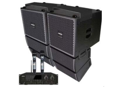 """特美声 线阵  LT-10 """"型号:LT-10                          10寸50芯铁氧体低音单元5寸中音*2、号角压缩高3  功率处理能力 250W连续500W峰值                      额定阻抗 8欧 覆盖范围水平垂直120x30度 频率范围45Hz20KLz 分频频率500Hz 轴向灵敏度w95dB   最大声压级 专业调频U段话筒*2                      话筒125dB 音箱尺寸40*32*65cm 重量21kg 外技术特点,音箱采用进口"""