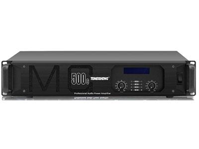 "特美声 功放  MG-500S ""8Ω功率:500W*2 4Ω功率:800W*2 输入灵敏度:1.0V 输入阻抗:10KΩ(balanced)          20KΩ(balanced,parallel) 频率响应:20Hz-20KHz(±0.3db)          (PLF 20-180Hz)(HPF 130-20KHz) 转换速率:≥30V/us 阻尼系数:>400:1(@1KHz) 信号串扰:>90dB(@1KHz) 信噪比:>100dB 总谐波失真:"